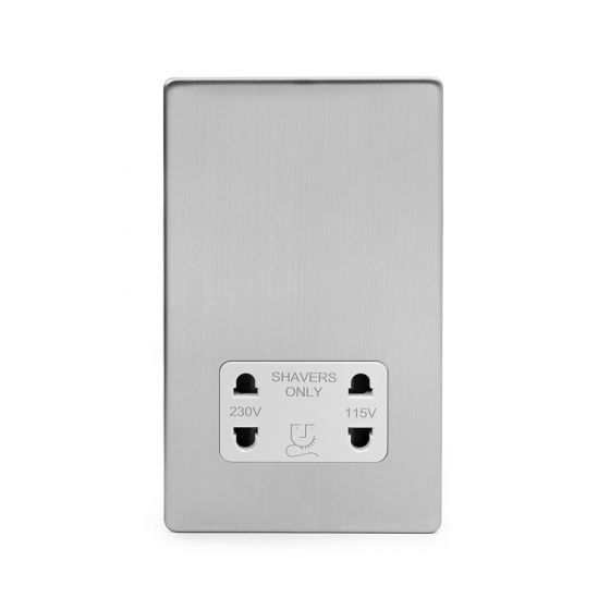 The Lombard Collection Brushed Chrome Luxury 1 Gang Shaver Socket with white Insert
