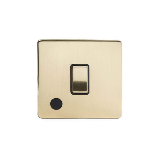 The Savoy Collection Brushed Brass Period 1 Gang Flex Outlet 20 Amp DP Switch with Black Insert