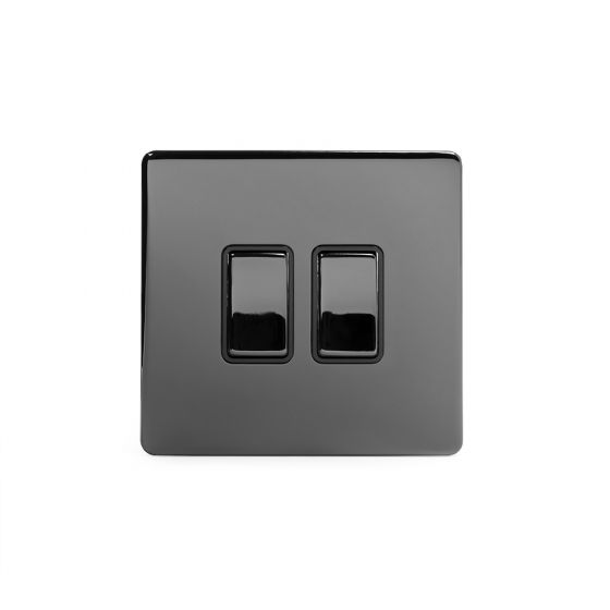 The Connaught Collection Black Nickel 10A 2 Gang 2 Way Switch with Black Insert