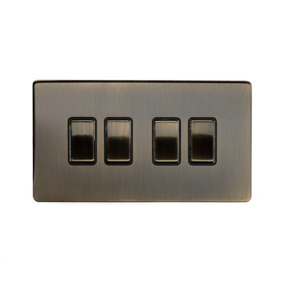 The Charterhouse Collection Aged Brass 10A 4 Gang 2 Way Switch with Black Insert