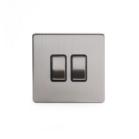 The Lombard Collection Brushed Chrome Luxury 10A 2 Gang 2 Way Switch with Black Insert