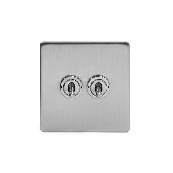 The Lombard Collection Brushed Chrome Luxury 2 Gang 2 Way Toggle Switch