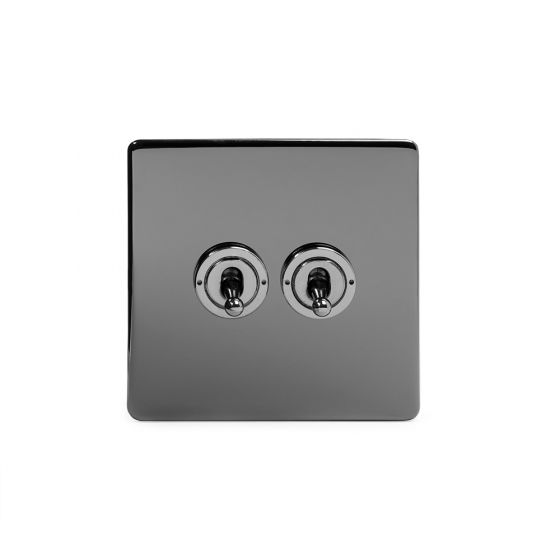 The Connaught Collection Black Nickel 2 Gang 2 Way Toggle Switch