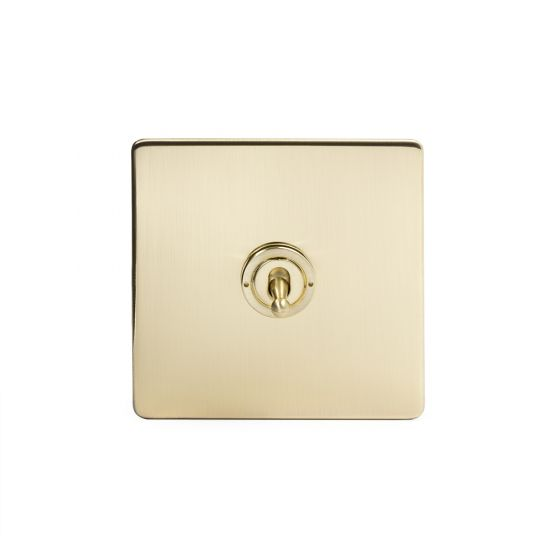 The Savoy Collection Satin Brass 1 Gang  Intermediate Toggle Switch Screwless