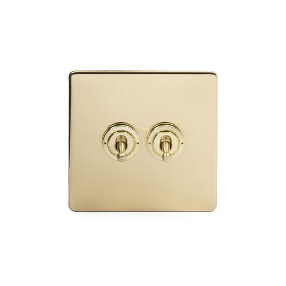 The Savoy Collection Satin Brass 2 Gang Intermediate Toggle Switch Screwless