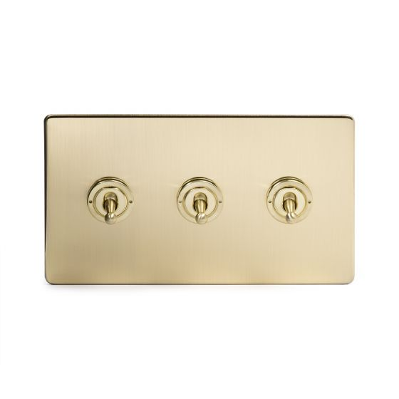 The Savoy Collection Satin Brass 3 Gang Intermediate Toggle Switch Screwless