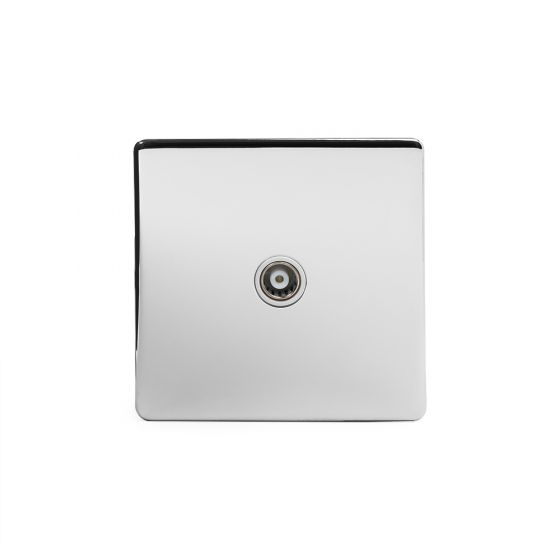 The Finsbury Collection Polished Chrome Luxury 1 Gang Co Axial Socket with white Insert