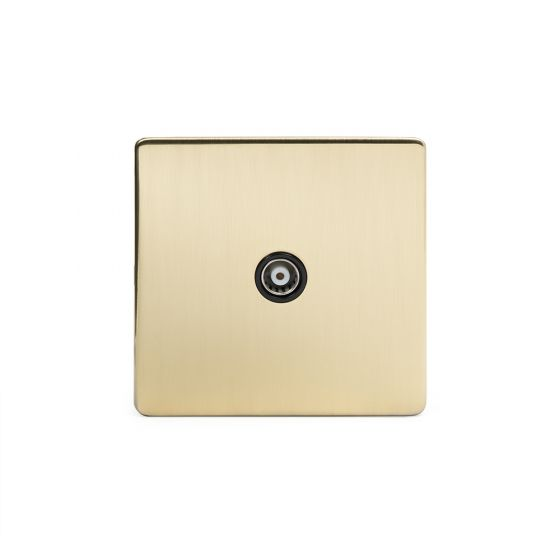 The Savoy Collection Brushed Brass Period 1 Gang Co Axial Socket with Black Insert