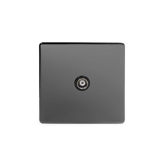 The Connaught Collection Black Nickel 1 Gang Co Axial Socket with Black Insert
