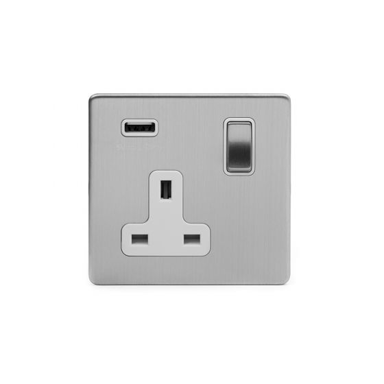Chrome Single USB Socket