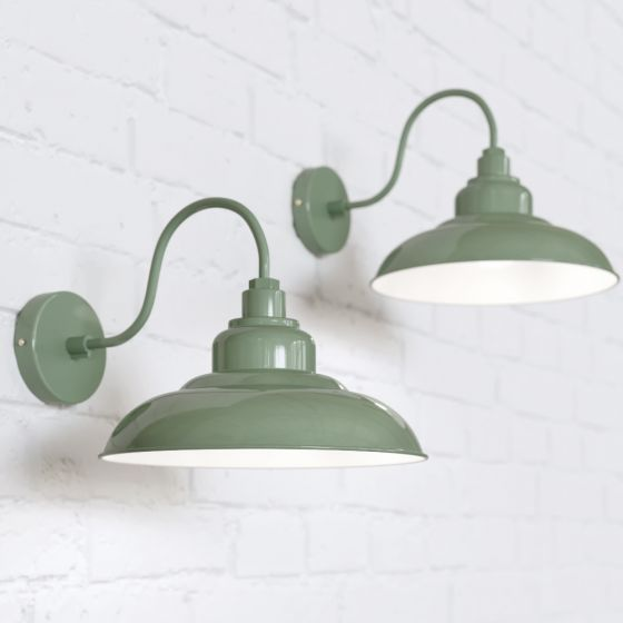 Portland Reclaimed Style Wall Light Chalk Mint Green - Soho Lighting