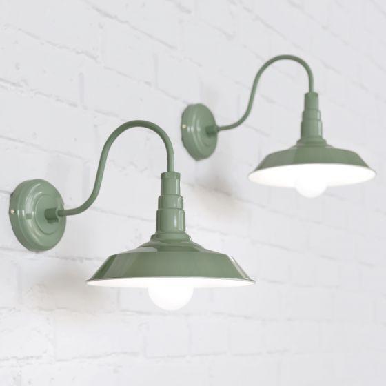 Green Industrial Wall Light