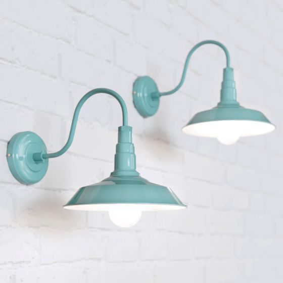 Argyll Industrial Wall Light Duck Egg Blue Turquoise - Soho Lighting