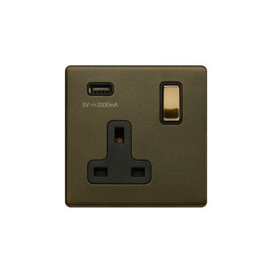 Soho Fusion Bronze & Brushed Brass 13A 1 Gang DP USB Socket (USB 2.1amp) Black Inserts Screwless