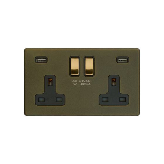 Soho Fusion Bronze & Brushed Brass 13A 2 Gang DP USB Socket (USB 4.8amp) Black Inserts Screwless