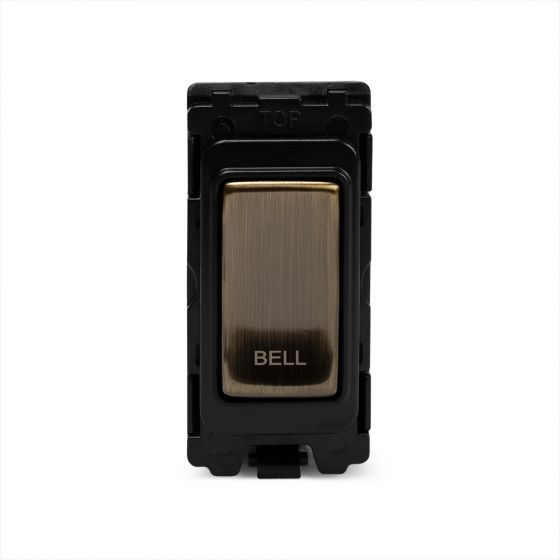 The Charterhouse Collection Aged Brass 1 Gang 2Way Retractive Marked Bell Grid Switch Module