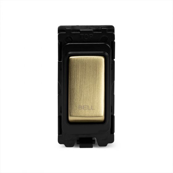 The Savoy Collection Brushed Brass 1 Gang 2Way Retractive Marked Bell Grid Switch Module
