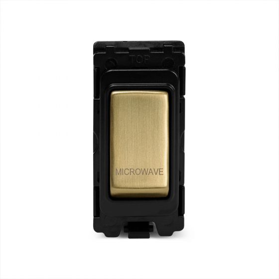 The Savoy Collection Brushed Brass 20A Double Pole Marked As Microwave Grid Switch Module