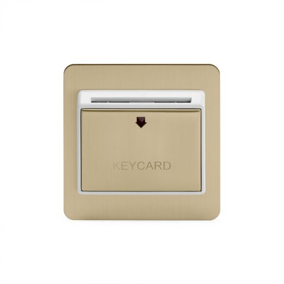 Soho Lighting Brushed Brass 32A Key Card Switch With White Insert