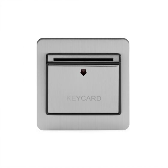 Soho Lighting Flat Plate Brushed Chrome 32A Key Card Switch With Black Insert