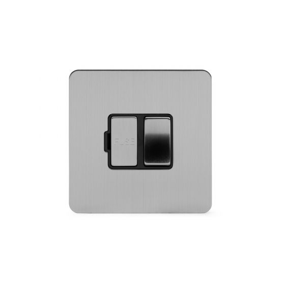 Soho Lighting Brushed Chrome Flat Plate 13A Switched Fuse Connection Unit Blk Ins Screwless