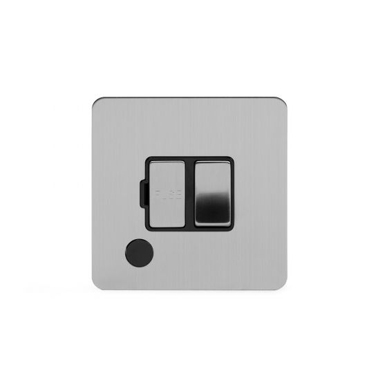 Soho Lighting Brushed Chrome Flat Plate 13A Switched Fuse Connection Unit Flex Outlet Blk Ins Screwless
