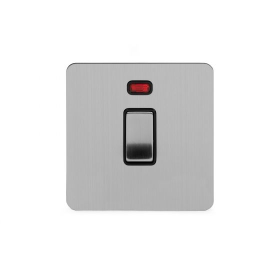 Soho Lighting Brushed Chrome Flat Plate 20A 1 Gang Double Pole Switch With Neon Blk Ins Screwless