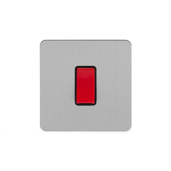 Soho Lighting Brushed Chrome Flat Plate 45A 1 Gang Double Pole Switch