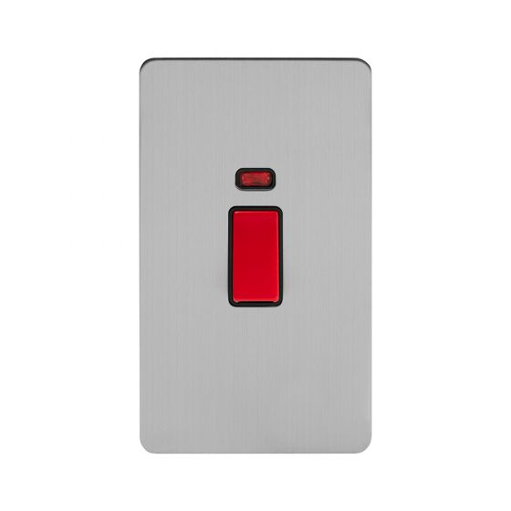 The Lombard Collection Flat Plate Brushed Chrome 45A 1 Gang Double Pole Switch With Neon, Large Plate Blk Ins Screwless
