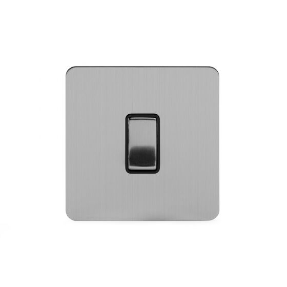 Soho Lighting Brushed Chrome Flat Plate 10A 1 Gang 2 Way Switch Blk Ins Screwless