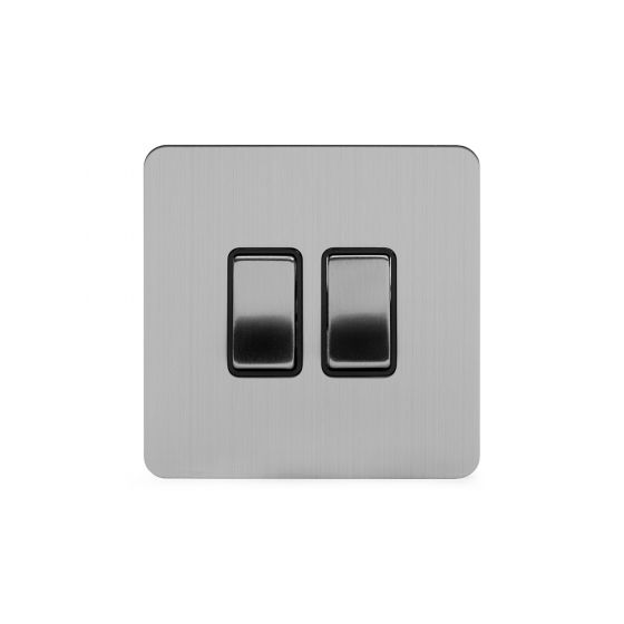Soho Lighting Brushed Chrome Flat Plate 10A 2 Gang 2 Way Switch Blk Ins Screwless