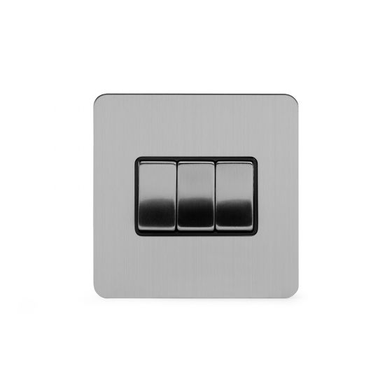 Soho Lighting Brushed Chrome Flat Plate 10A 3 Gang 2 Way Switch Blk Ins Screwless