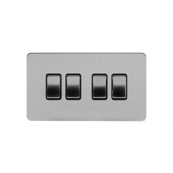 Soho Lighting Brushed Chrome Flat Plate 10A 4 Gang 2 Way Switch Blk Ins Screwless