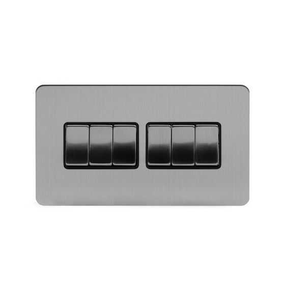 Soho Lighting Brushed Chrome Flat Plate 10A 6 Gang 2 Way Switch Blk Ins Screwless