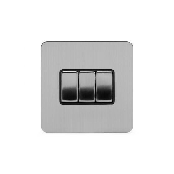 Soho Lighting Brushed Chrome Flat Plate 3 Gang Intermediate Switch Blk Ins Screwless