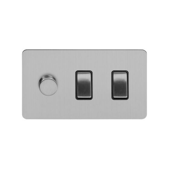 Soho Lighting Brushed Chrome Flat Plate 3 Gang Light Switch with 1 Dimmer