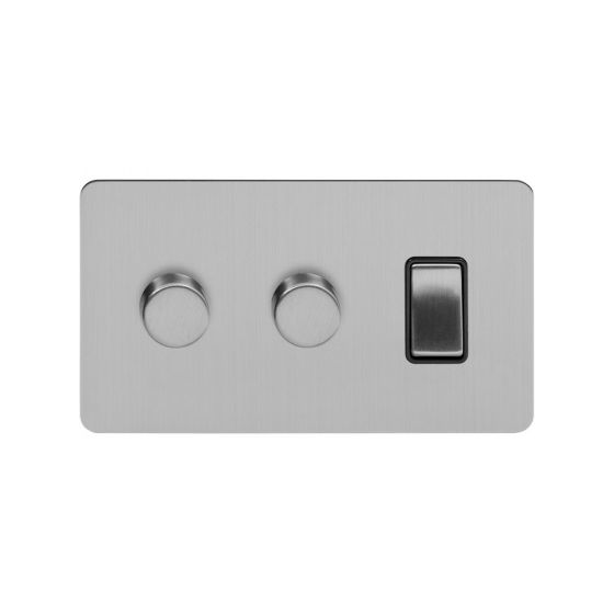 Soho Lighting Brushed Chrome Flat Plate 3 Gang Light Switch with 2 Dimmers
