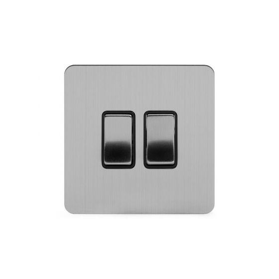 Soho Lighting Brushed Chrome Flat Plate 2 Gang Switch With 1 Intermediate Bk Ins Screwless