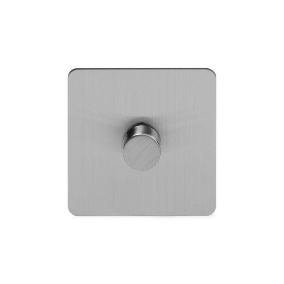 Soho Lighting Brushed Chrome Flat Plate 250W 1 Gang 2 Way Trailing Dimmer Screwless
