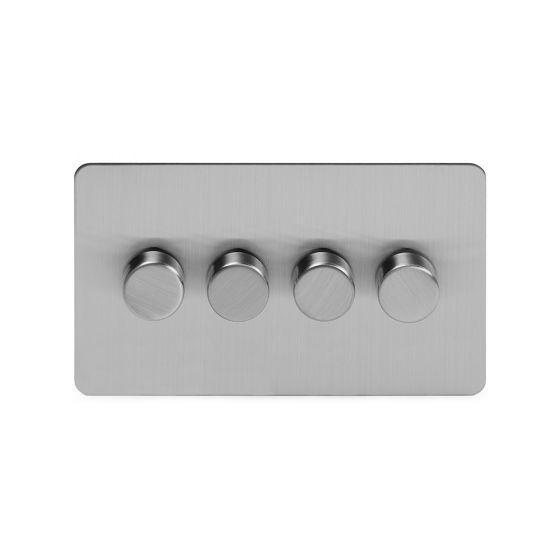 Soho Lighting Brushed Chrome Flat Plate 250W 4 Gang 2 Way Trailing Dimmer Screwless