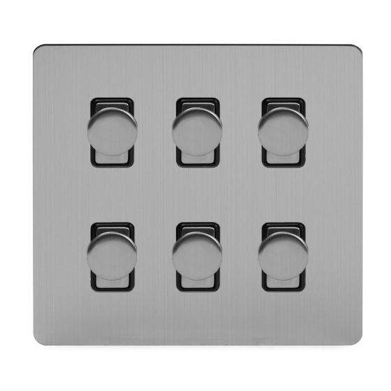 Soho Lighting Brushed Chrome Flat Plate 6 Gang 2 Way Intelligent Trailing Dimmer Switch Screwless 400W
