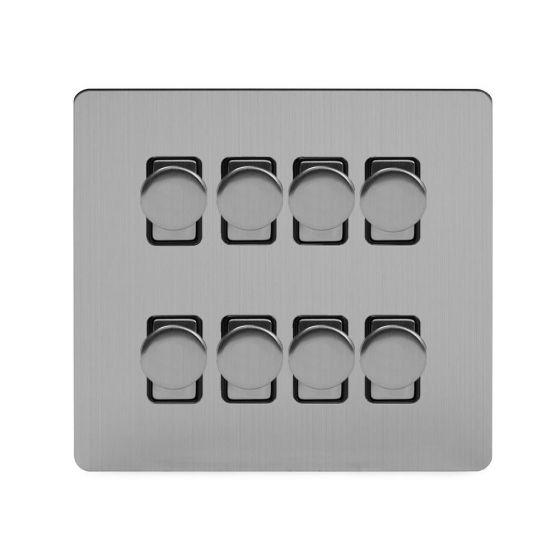 Soho Lighting Brushed Chrome Flat Plate 8 Gang 2 Way Intelligent Trailing Dimmer Switch Screwless 400W
