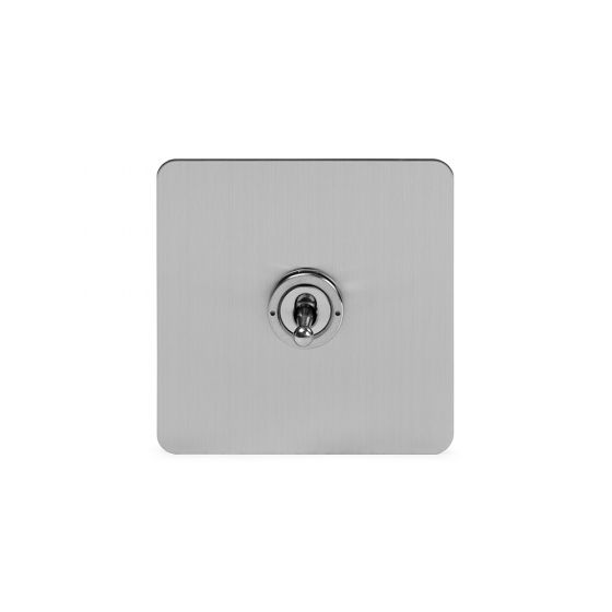 Soho Lighting Brushed Chrome Flat Plate 20A 1 Gang 2 Way Toggle Switch Screwless