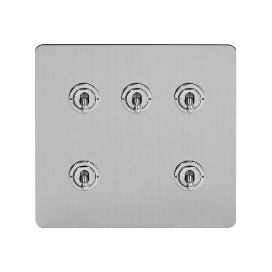 Soho Lighting Brushed Chrome Flat Plate 5 Gang Toggle Light Switch 20A 2 Way Screwless