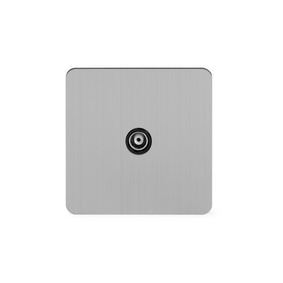 Soho Lighting Brushed Chrome Flat Plate 1 Gang TV Socket Blk Ins Screwless