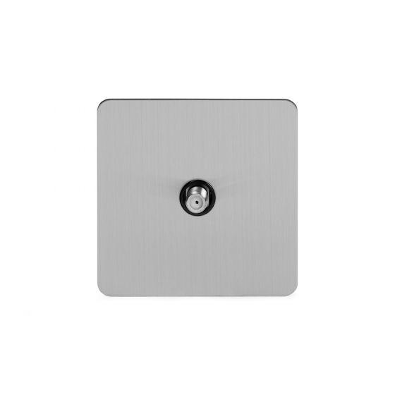 Soho Lighting Brushed Chrome Flat Plate 1 Gang Satellite Socket Blk Ins Screwless
