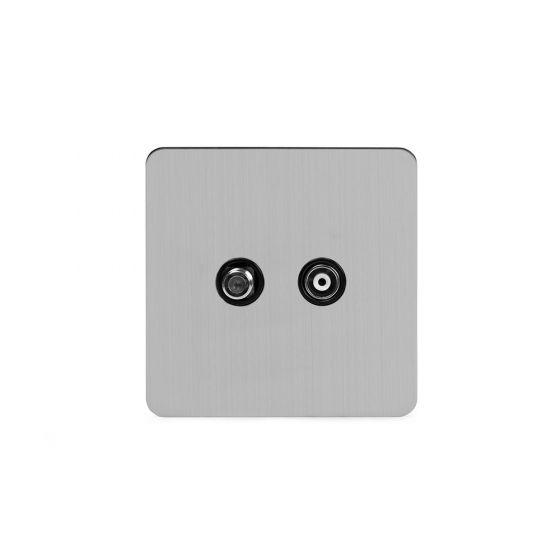 Soho Lighting Brushed Chrome Flat Plate TV+ Satellite Socket Blk Ins Screwless