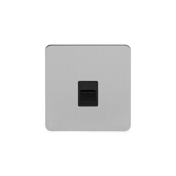 Soho Lighting Brushed Chrome Flat Plate 1 Gang Tel Master Socket