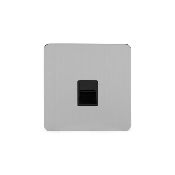 Soho Lighting Brushed Chrome Flat Plate 1 Gang Tel Secondary Socket
