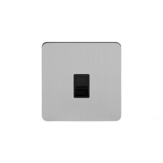 Soho Lighting Brushed Chrome Flat Plate 1 Gang Data Socket RJ45 Cat5 Blk Ins Screwless